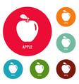 apple icons circle set vector image