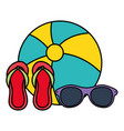 beach balloon with flip flops and sunglasses vector image vector image
