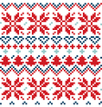 Blue and red Christmas Nordic seamless pattern vector image vector image