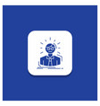 blue round button for manager employee doctor vector image