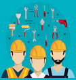 builders characters with construction equipment vector image
