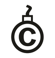 Cannonball-shaped copyright sign vector image