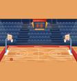 cartoon empty hall field to play basketball team vector image