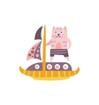 Cat On A Sailing Boat Stylized Fantastic vector image vector image