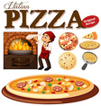Chef making pizza in the oven vector image vector image