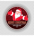 christmas round sign with the silhouette of santa vector image vector image
