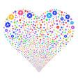 cogwheel fireworks heart vector image vector image