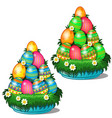 colorful easter eggs stacked in cone on plate vector image vector image