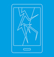 cracked phone icon outline style vector image vector image