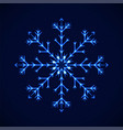 crystal blue detailed snowflake on blue vector image vector image
