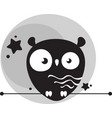 cute funny owl in background gray moon vector image vector image