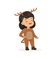 cute happy little girl dressed as a deer kids vector image vector image