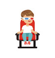 cute little boy in 3d glasses sitting on a red vector image vector image
