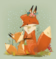 cute mom fox with her kid vector image vector image