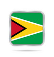 flag of guyana shiny metallic gray square button vector image vector image