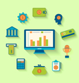 Flat icons of financial and business items vector image vector image
