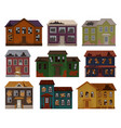 flat of old houses with destroyed roof and vector image