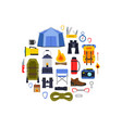 flat style camping elements gathered vector image