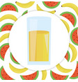 glass with juice banana and watermelon vector image