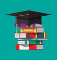 graduation cap on stuck books vector image vector image