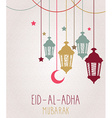 Holiday of handwritten Eid Al Adha label vector image