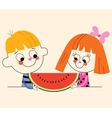 little boy and little girl with watermelon vector image vector image
