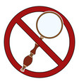 magnifier in prohibition sign ban on research vector image vector image
