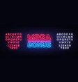 mega bonus neon sign bonus neon text vector image vector image