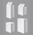 milk and juice boxes realistic white cardboard vector image