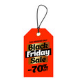 orange tag black friday sale with 70 percent vector image vector image