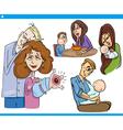 parents and kids cartoon set vector image