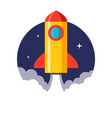 rocket launch flat design isolated on white vector image