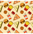 seamless pattern funny cute fast food kawaii with vector image vector image