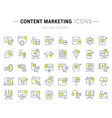 set line icons content marketing vector image
