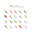 set line icons freshwater fish vector image vector image