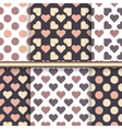 set seamless patterns made with hearts and dot vector image vector image