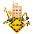 Sign design with construction equipments vector image vector image