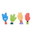 sport fans crowd hands gestures gloves foam vector image