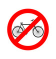 stop cyclist bicycle on red ring road sign ban vector image vector image