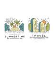 summertime logo design set travel badges or vector image vector image