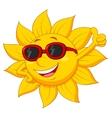 Sun cartoon character with thumb up vector image vector image