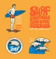 surf badge wave and ocean vintage retro vector image vector image