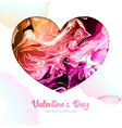 valentine love heart with alcohol ink texture vector image vector image