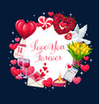 valentines day hearts flowers and love letter vector image vector image