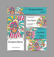 doodl flower style business card set corporate vector image
