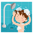 a child taking shower and he wash head with