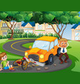 accident scene with car crash in park vector image vector image
