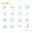 arthritis thin line icons set vector image