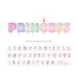 balloon cute font for kids cartoon pastel colored vector image vector image