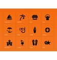 Beach icons on orange background vector image